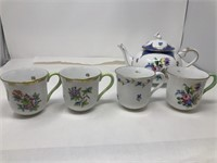 Herend Hungary hand painted teapot and cups