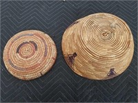 "Pr of native hand made baskets  13""×5"",9""×2"""