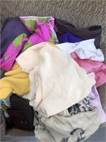 Box of fabric etc