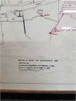 Antique framed map of the City of SANTA PAULA