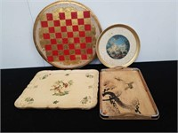 Group of 4 wooden trays some hand painted