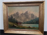 Antique oil painting on board / signed lower