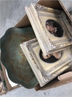 Box of frames, vintage serving tray