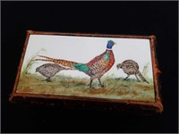 Small leather box with  signed porcelain p