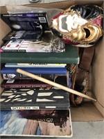 Box of books, mask, belts