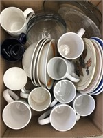 Box of misc dishes