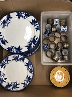 Box of pier 1 import dishes, napkin rings