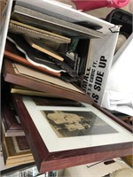 Box of picture frames, framed prints