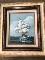 Signed framed painting Of ship