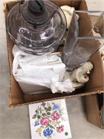 Box with tiles, baccarat vase as is, vintage oil