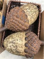 Decorative basket with acorn decor
