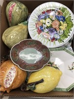 Box of misc decor, dishes