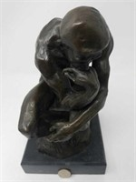 "Bronze sculpture signed RODIN / THE Thinker 6""×11"""