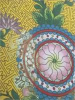 """Asian cloisonne floral bowl 9""""×4"""""""