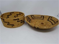 Box of two native woven baskets