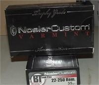 2 - 20 Round Boxes Of Nosler  Custom  22-250