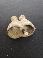 Antique brass ashtray, bell and sculpture
