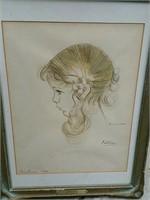 Artist  Claussen  drawing of colleen