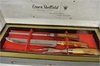Crown Sheffield Carving Set w/6 Steak Knives
