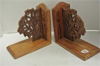 Wooden Carved Book Ends