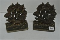 Cast Metal Ship Book Ends