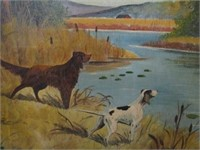 Canadiana Hunting Dog Marsh Scene