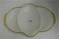 Fire-King Gold Rimmed Divided Dish