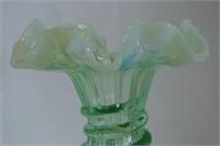Green Ruffled Iridescent Vase