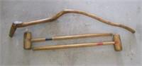 2 Croquet Mallets & Carved Walking Stick