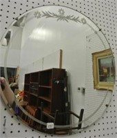 Retro Etched Glass Circular Mirror