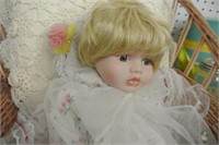 Nostalgia Bisque Baby Doll w/Sled