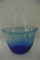 Cobalt Blue to Clear Glass Basket Form Vase