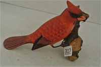 Carved Wooden Cardinal on Driftwood Stump