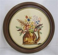 Pair of Framed Needlework Wall Plaques