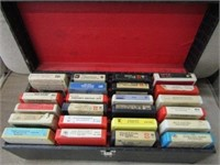 8 Track Cassette Collection in Case