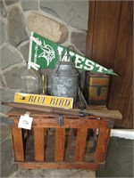 Wooden Crate, Toy Rifle, Brass Bell, & More