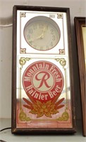 Two Vintage Mirror Beer Signs (one is also a clock