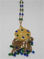 """Peacock necklace with glass beads  / 3""""× 15"""""""