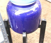 Dark Blue Pottery Water Dispenser w/Wooden Stand