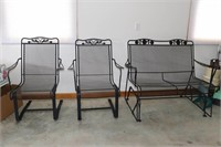 3 Piece Wrought Iron Glider & Chairs