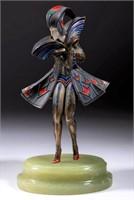 Gerda Gerdago (Austrian, 1906-2004) Art Deco cold-painted bronze figure of a woman in futuristic costume (c. 1930)