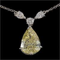 3.00 ct fancy yellow diamond pendant