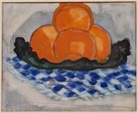 "Oscar Florianus Bluemner (American, 1867-1938) watercolor still life of oranges, 4 7/8"" x 5 7/8"" sight"