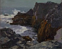"Edward Henry Potthast (American, 1857-1927) oil on board coastal landscape, titled ""A Rockbound Coast"" in artist's hand verso"