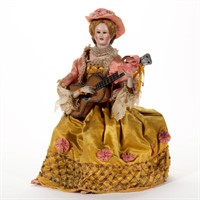 19th-century musical automaton, possibly Vichy, retains original English retailer's label attached to underside of base