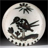 "Picasso Madoura Pottery ""Bird under the Sun"" dish / ash tray"