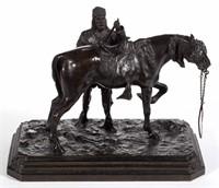 Walter Winans (American, 1852-1920) bronze sculpture of Buffalo Bill and his horse