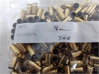 Bag 200 Count 9mm Empty Brass