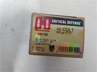 20 Rnd Box Hornady 45 Colt 185gr Ftx