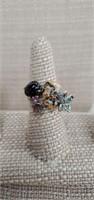 Sterling Silver Ring W/ Spinel & Gemstones